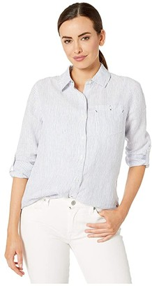 Vineyard Vines Striped Linen Chilmark Relaxed Button Down (Marlin) Women's Clothing
