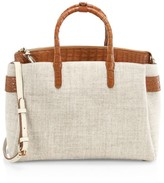 Nancy Gonzalez Large Cristie Crocodile-Trimmed Linen Satchel