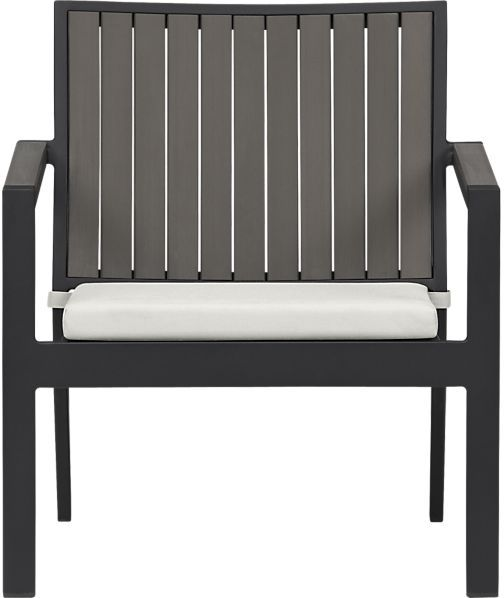 Crate & Barrel Alfresco Grey Lounge Chair with Cushion. in Sunbrella: White Sand