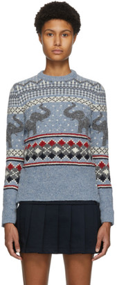 Thom Browne Blue Wool and Mohair Elephant Icon Fair Isle Sweater
