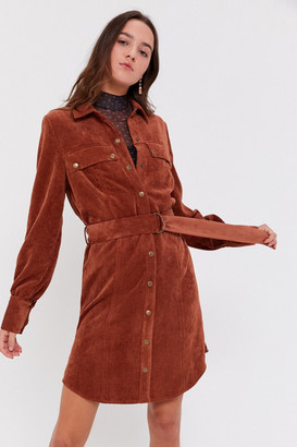 Urban Outfitters Averie Corduroy Belted Shirtdress