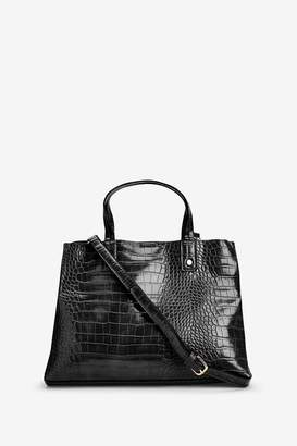 Next Womens Black Croc Effect Three Compartment Tote Bag - Black