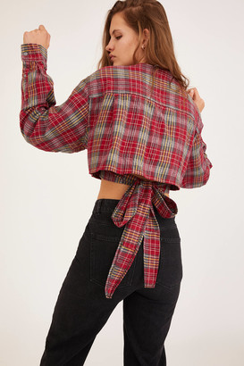 Urban Renewal Vintage Recycled Flannel Plunging Tie-Front Shirt
