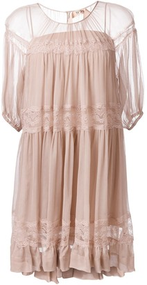 No.21 Lace Detail Pleated Dress