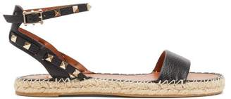 Valentino Rockstud-strap Leather Espadrille Sandals - Womens - Black