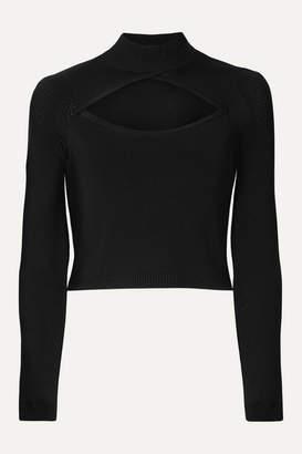 Fleur Du Mal Cutout Pointelle-paneled Stretch-knit Turtleneck Top - Black