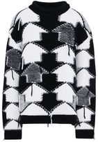 Stella McCartney black and white check volume sweater
