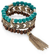 Expression Three-Pack Bead and Tassel Stretch Bracelet Set