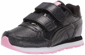 Puma Kids' Vista Hook and Loop Sneaker Black Black-Pale Pink