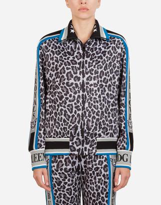 Zip-up sweatshirt with jungle sport leopard print