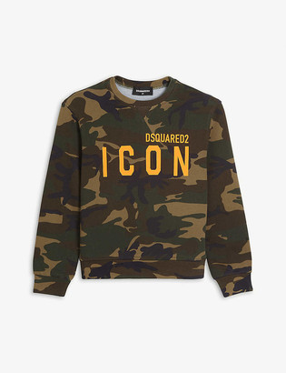 DSQUARED2 Icon branded camo-print cotton sweatshirt 4-16 years