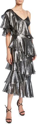 Flor Et. Al Bowie Metallic Asymmetric Tiered Ruffle Midi Dress