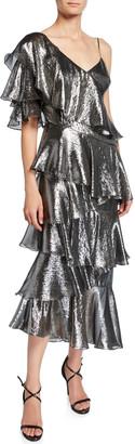 Flor Et. Al Flor Et.Al Bowie Metallic Asymmetric Tiered Ruffle Midi Dress