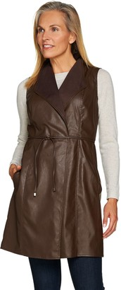 Lisa Rinna Collection Faux Leather Vest with Tie Waist