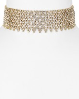 "Aqua Ivanya Shimmering Mesh Choker Necklace, 11"""