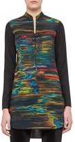 Akris Punto Printed Half-Zip Tunic, Northern Lights