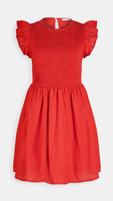 ENGLISH FACTORY Smocked Ruffle Sleeve Dress