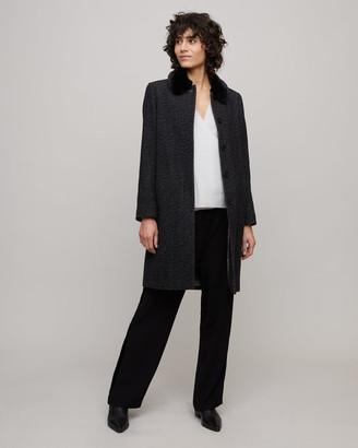 Jigsaw Herringbone Faux Fur Trim Coat