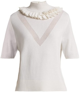 Barrie Flying Lace Ruffled Cashmere Sweater - White