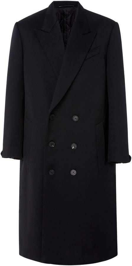 Givenchy Double Breasted Coat with Leather Insert
