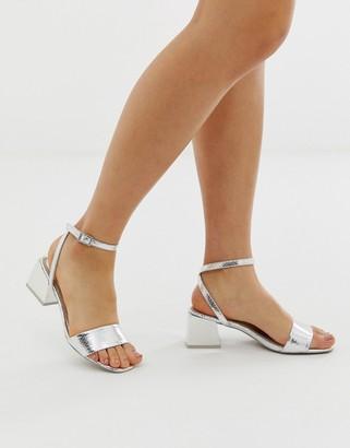 ASOS DESIGN Honeywell block heeled sandals in silver