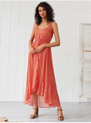 FS Collection Frill Detail Strappy High Low Dress In Orange With Spot Print