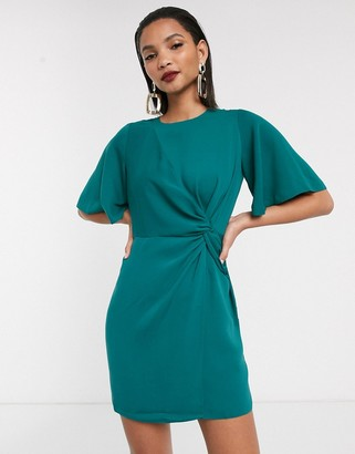ASOS DESIGN twist front mini dress with angel sleeve in antique green