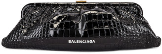 Balenciaga XL Cloud Clutch with Strap in Black | FWRD