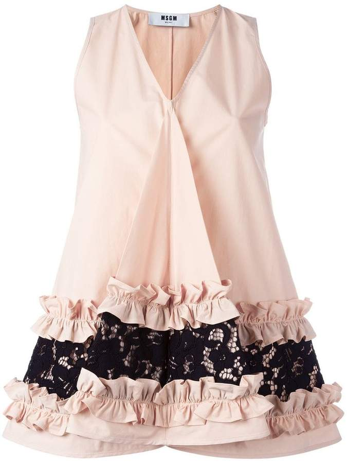 MSGM ruffle & lace detail sleeveless top
