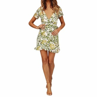 Paolian Dress Leaves Printed V-Neck Mini Dress