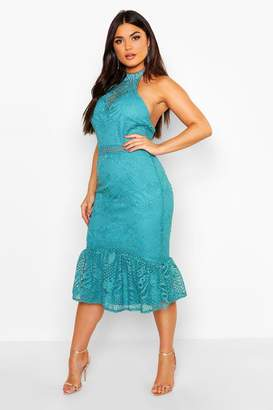 boohoo Lace Halterneck Fishtail Midi Dress