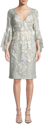 Jovani Trumpet-Sleeve Sheath Dress w/ Floral Embroidery