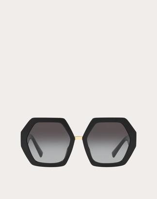 Valentino Hexagonal Oversized Vlogo Acetate Sunglasses Women Brown Acetate 100% OneSize