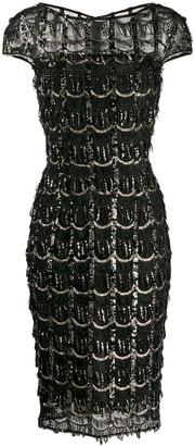 Talbot Runhof Sequin Fringe Detail Dress