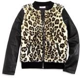 Design History Girls' Faux Fur Bomber Jacket - Sizes S-XL