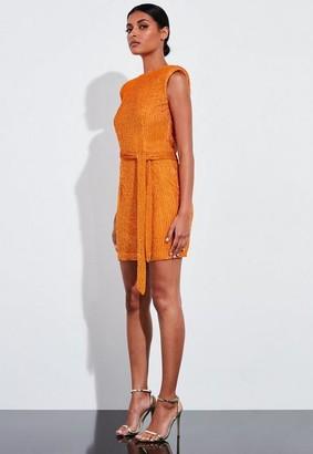 Missguided Orange Sequin Shoulder Pad Cowl Back Mini Dress