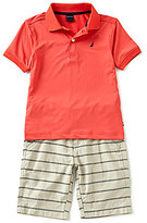Nautica Little Boys 4-7 Solid Short-Sleeve Polo Shirt & Striped Shorts Set
