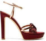 Malone Souliers Lauren Crystal-embellished Satin Platform Sandals - Womens - Burgundy Gold