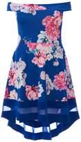 Quiz Curve Blue And Pink Flower Print Bardot Dip Hem Dress