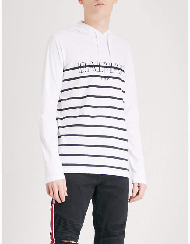 Balmain Breton-stripe cotton-jersey hoody