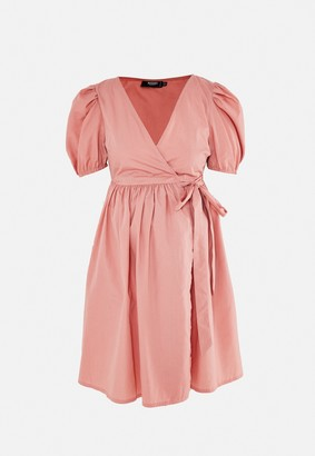Missguided Peach Poplin Puff Sleeve Maternity Mini Dress