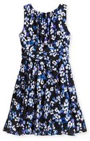 Kate Spade Sleeveless Floral Crepe Dress, Blue/Black, Size 7-14