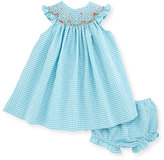 Luli & Me Sleeveless Gingham Seersucker Bishop Dress w/ Bloomers, Turquoise, Size 3-24 Months