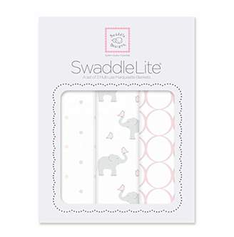 Swaddle Designs Marquisette Swaddle Blankets, Premium Cotton Muslin, SwaddleLite Set of 3, Mod Elephants, Pastel Pink