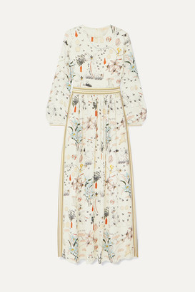 Tory Burch Floral-print Silk Crepe De Chine Maxi Dress - Ivory