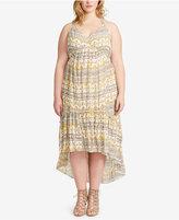 Jessica Simpson Plus Size Printed Flounce-Hem Midi Dress