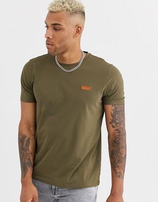 HUGO BOSS Dero contrast embroidered logo t-shirt in khaki