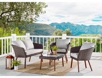 """Highland Dunes Panek 4 Piece Complete Patio Set with Cushions Table Length: 26"""""""
