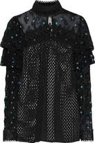 Anna Sui Ruffled Embroidered Tulle-Paneled Lace-Trimmed Open-Knit Blouse