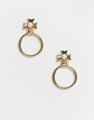 ASOS DESIGN earrings with pearl studded cross and open circle drop in gold tone